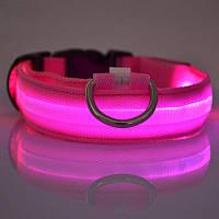 Светящийся ошейник для собак и кошек 38-50см Розовый