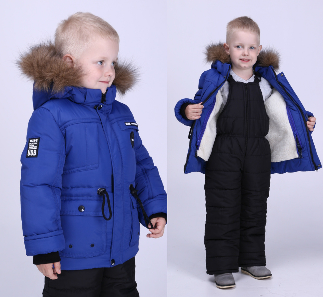 Зимние комбинезоны для мальчиков на овчинке теплые