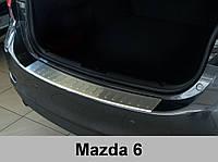 Нержавеющая защитная накладка на задний бампер Mazda 6 2012+