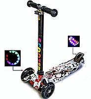 Самокат Best Scooter MAXI Трехколесный кикборд,складной, 4 колеса светятся,Трубка руля алюминиевая, В упаковке
