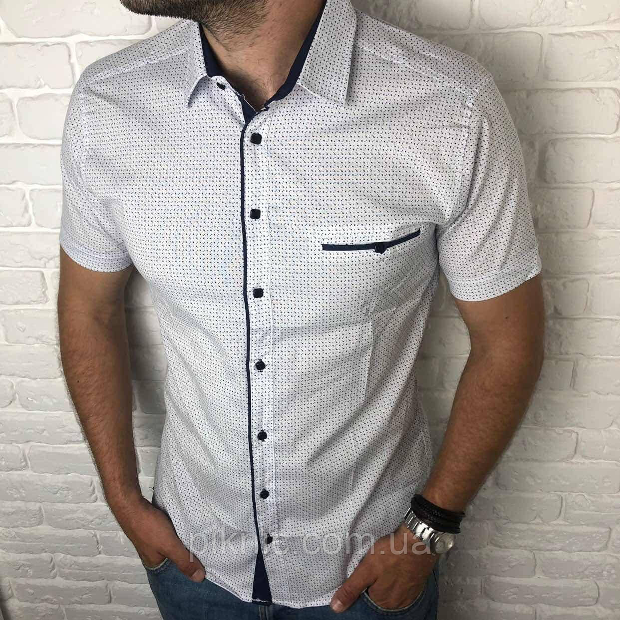 Рубашка мужская классическая L короткий рукав. Турция. Молодежная турецкая рубашка. Белый