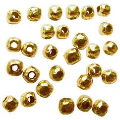 Намистини Роздільники Безшовні, Колір Світле Золото, Діаметр 2.4 мм, Отв. 0.8 мм, 10 г/близько 190 шт.