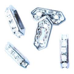 Рондель на 2 отвори зі Стразами Колір Платина, Страз Срібло, Размер15х6х3.5 мм, отворами діаметром 1,5 мм