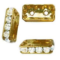 Рондель на 2 отвори зі Стразами Колір Золото, Страз Срібло, Розмір 16х8,5х3,5 мм, отворами діаметром 1,5 мм