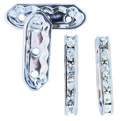 Рондель на 3 отвори зі Стразами Колір Платина, Страз Срібло, Розмір 21х7х3.5 мм, отворами діаметром 1,5 мм