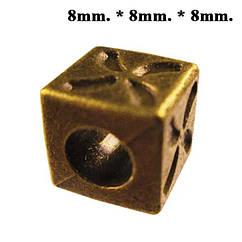 Намистини Куб Метал, Набір 10 шт, Колір Бронза, Розмір 8*8*8 мм., Отв. 5 мм. Намисто.