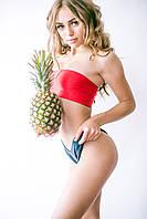 Купальник бандо раздельный, двухсторонний на шкуровке, чашка вкладыш, черный, красный плавки чайки, бразилиано, фото 1