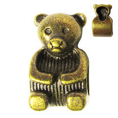 Намистини Ведмідь Метал, Набір 10 шт, Колір Бронза, Розмір 15*9*8 мм., Отв. 5 мм. Намисто.