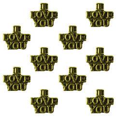 Намистини I Love You Метал, Набір 10 шт, Колір Бронза, Розмір 9*10*6 мм., Отв.4,5 мм. Намисто.