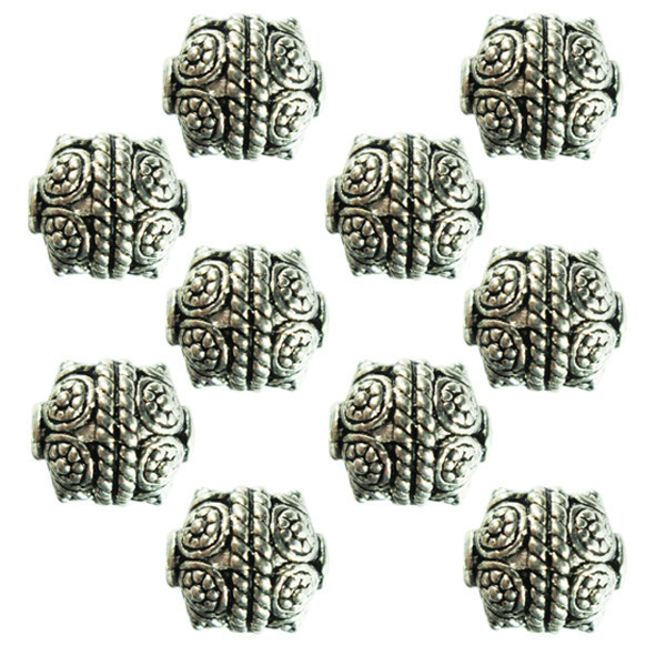 Бусины Тибет Металл Набор 10 шт., Цвет Серебро, Размер 9*10*9 мм., Отверстие 1,5 мм. Бусы.