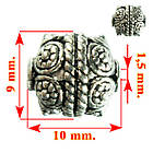 Бусины Тибет Металл Набор 10 шт., Цвет Серебро, Размер 9*10*9 мм., Отверстие 1,5 мм. Бусы., фото 4