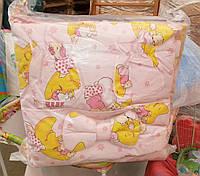 Защита для детской кроватки Розовая Мишка на луне