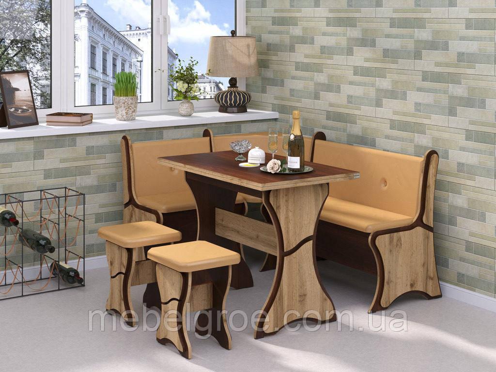 Кухонный уголок Султан с раскладным столом и табуретами тм Пехотин