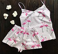Женская хлопковая пижама 40-42 р фламинго