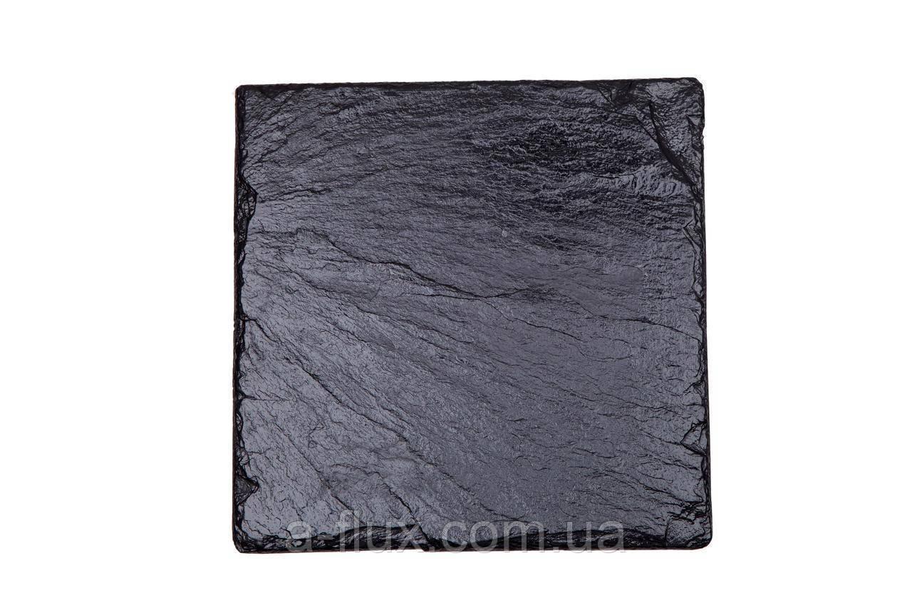 Поднос (сланец) из натурального камня квадратный, подставка под бокал или чашку 9,3*9,3см 93/93