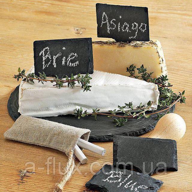 Набор табличек (4шт), ценников (сланец) из натурального камня 12*9,3см 120/93 Ценники