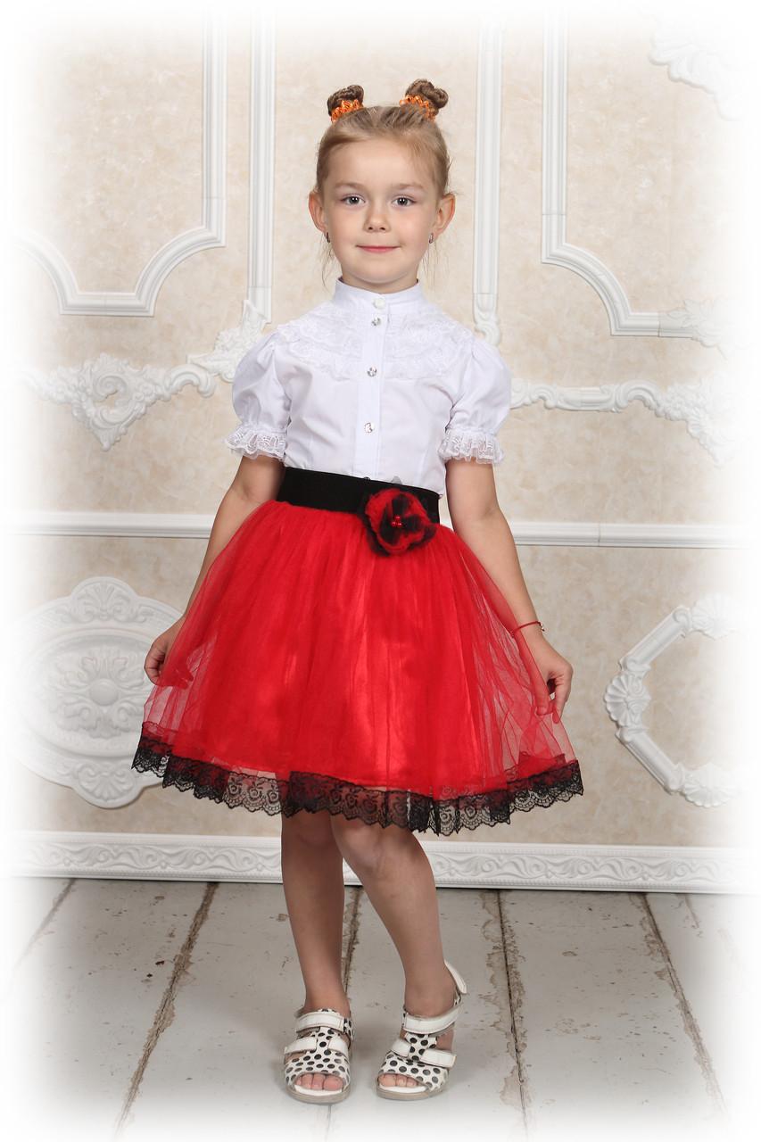 Дитяча спідниця червона фатиновая з маком і ажурною тасьмою. Пошиття у будь-якому кольорі і розмірі