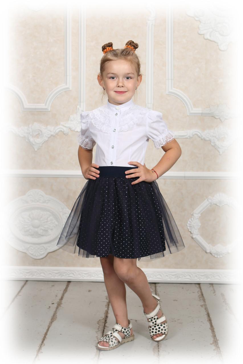 """Тёмно-синяя юбка """"New""""детская в горошек со слоем евро сетки Любой размер."""