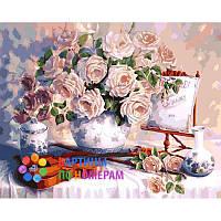 Картина по номерам Розы и скрипка (КНО5518) 40 х 50 см Идейка