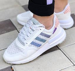 Женские кроссовки Adidas ZX 500 белые сеточка 36-44р. Живое фото (Реплика ААА+)