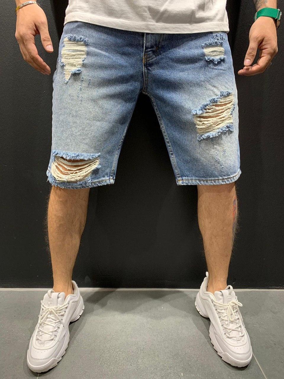 😜 Мужские джинсовые шорты светлые рваные