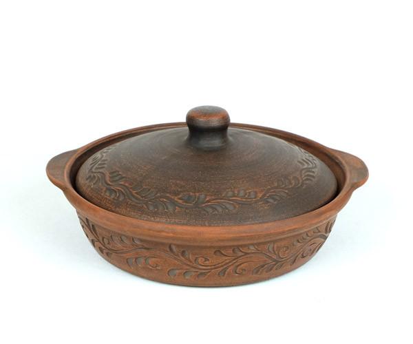 Сковорода духовая 1,5 л 260мм с узором из красной керамики (388)