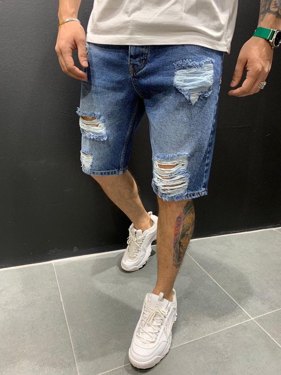 😜 Мужские джинсовые шорты синие рваные