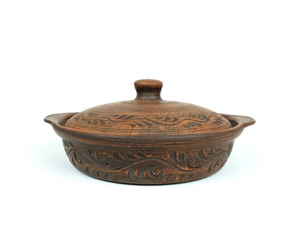 Сковорода духовая 1,2 л 230мм с узором из красной керамики (400)