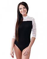 Женское боди-водолазка с гипюром (размеры S-XL)