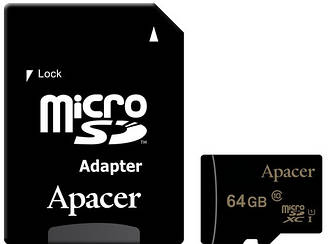 Карта памяти APACER microSDXC 64GB UHS-I U1+adapter