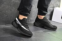 Кроссовки мужские повседневные текстильные летние мягкие кросовки черные белая полоска сбоку