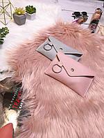 Стильная трендовая женская поясная сумка (клатч) / бананка пудровая(розовая) с кольцом