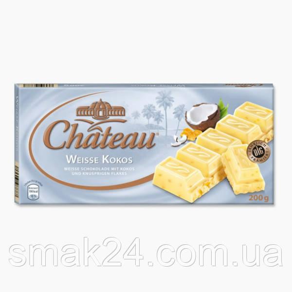 Шоколад білий з кокосом і хрусткими крипсами Weisse Kokos Chateau Німеччина 200г