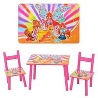 Детский столик 2547-34 со стульчиками WINX розовый