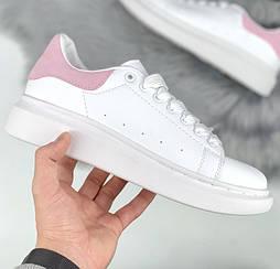 Женские кроссовки Alexander Mcqueen White and Pink Leather Sneakers. Живое фото! (Реплика ААА+)