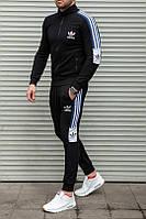 Качественный мужской спортивный костюм Adidas, черный