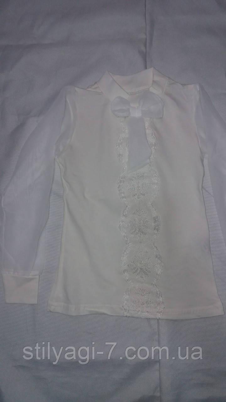 Кофта школьная для девочки 6-12 лет белого, молочного цвета с шифоном оптом