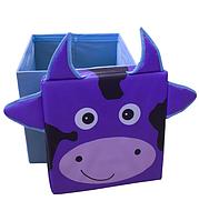 Детский пуфик-корзина для игрушек Зоопарк Корова