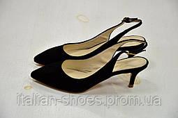 Черные замшевые туфли с открытой пяткой Lilly