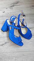 Женские синие босоножки на толстом каблуке из натурального велюра р.36-40.
