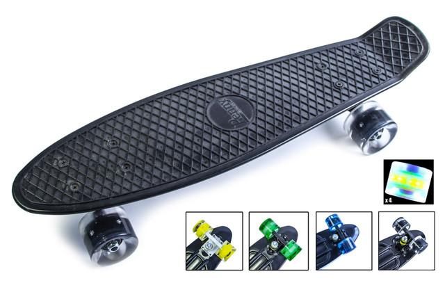 Penny Board. Черный. Светящиеся колеса.