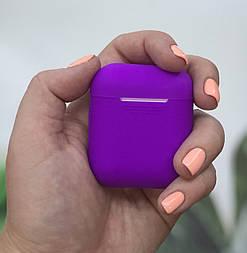 Силиконовый чехол для Apple AirPods silicone case фиолетовый. Есть другие цвета. Живое фото