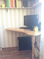 Компьютерный угловой столик из натурального дерева черешни