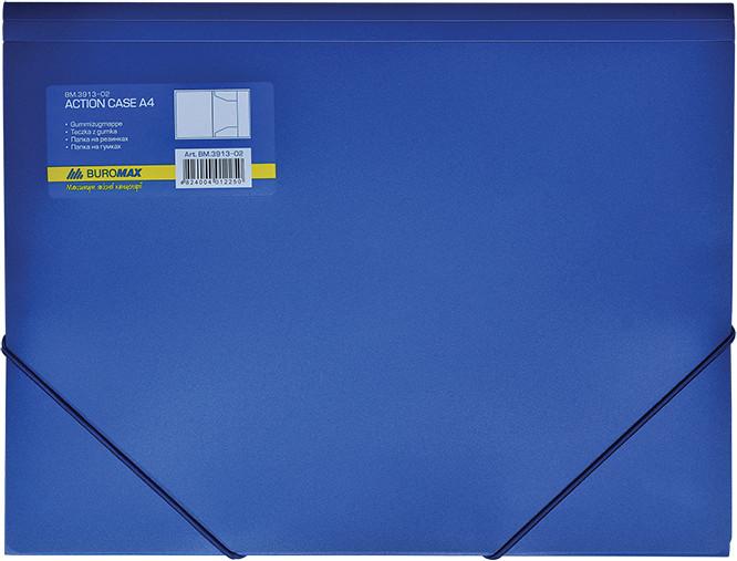 Папка пластиковая А4 на резинках синяя BM3913-02