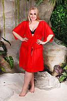 Пляжна туніка купити коротка батал парео пляжна туніка шифоновий халат чорний синій ментол жовтий червоний, фото 1
