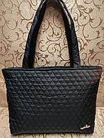 Сумка женская стеганная черная, женская сумка, сумка из ткани