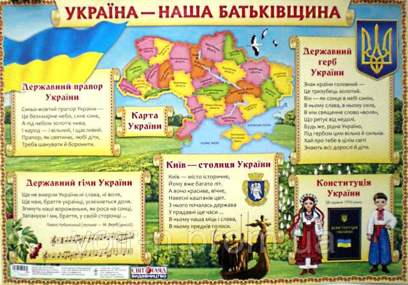 Плакат Україна наша Батьківщина, цена 30 грн., купить Київ — Prom ...