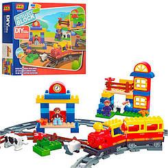Детский конструктор Железная дорога 6188В, ферма, звук, свет, фигурки, животные, 95дет, на бат-ке,