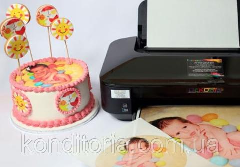 Пищевая печать на 6-ти цветном пищевой принтере, сахарная бумага Modecor Италия A4