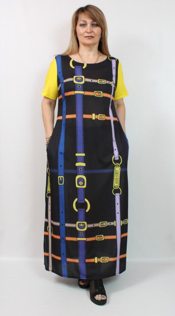 Турецкое летнее длинное черное платье, 50-56